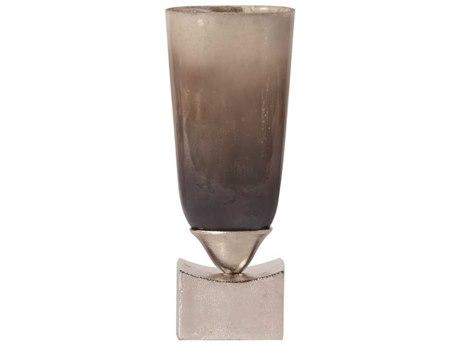 Howard Elliott Pearlized Antique Glass 17.5 x 3.75 Gray Vase