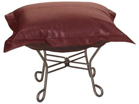 Howard Elliott Avanti Apple Scroll Puff Ottoman - Titanium Frame