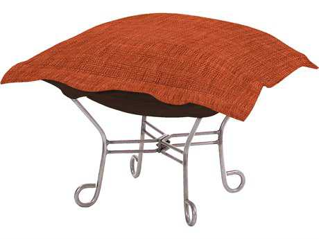 Howard Elliott Coco Coral Scroll Puff Ottoman - Titanium Frame