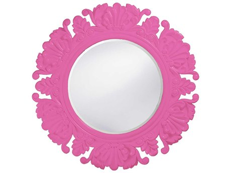 Howard Elliott Anita 44 Round Anita Hot Pink Wall Mirror