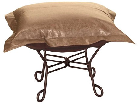 Howard Elliott Avanti Bronze Scroll Puff Ottoman - Mahogany Frame
