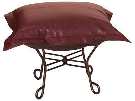 Howard Elliott Avanti Apple Scroll Puff Ottoman - Mahogany Frame