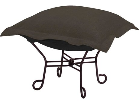 Howard Elliott Sterling Charcoal Scroll Puff Ottoman - Mahogany Frame