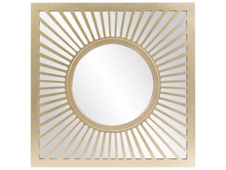 Howard Elliott Zia 40'' Square Champagne Silver Radiating Sunburst Wall Mirror