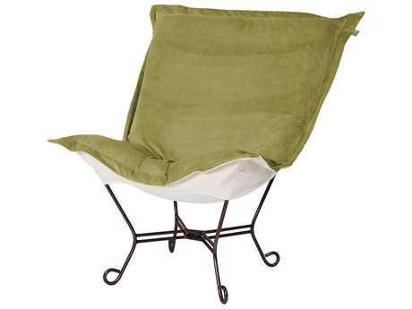 Howard Elliott Bella Mossl Puff Scroll Chair - Mahogany Frame