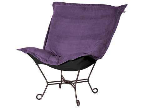 Howard Elliott Bella Eggplant/Black Puff Scroll Chair - Mahogany Frame
