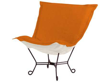 Howard Elliott Sterling Canyon Mahogany Frame Scroll Puff Chair