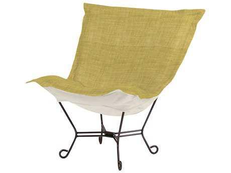 Howard Elliott Coco Peridot Scroll Puff Chair - Mahogany Frame
