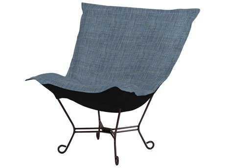 Howard Elliott Coco Sapphire Scroll Puff Chair - Mahogany Frame
