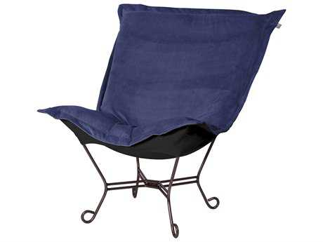 Howard Elliott Bella Royal/Black Puff Scroll Chair - Mahogany Frame