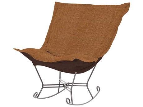 Howard Elliott Coco Topaz Scroll Puff Rocker Chair - Titanium Frame