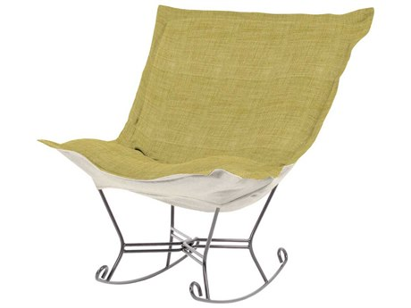 Howard Elliott Coco Peridot Scroll Puff Rocker Chair - Titanium Frame