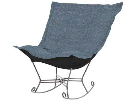 Howard Elliott Coco Sapphire Scroll Puff Rocker Chair - Titanium Frame