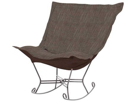 Howard Elliott Coco Slate Scroll Puff Rocker Chair - Titanium Frame