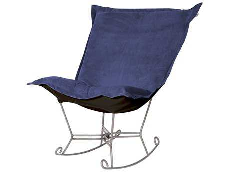 Howard Elliott Bella Royal Puff Scroll Rocker Chair - Titanium Frame