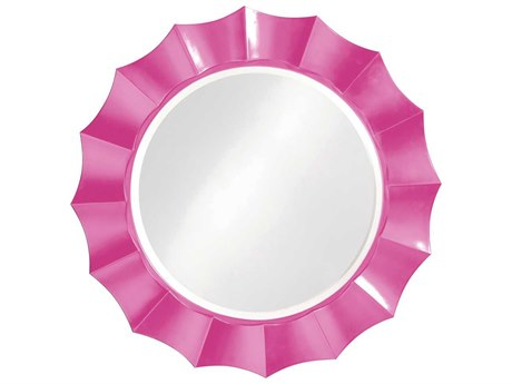 Howard Elliott Corona 41'' Round Hot Pink Wall Mirror