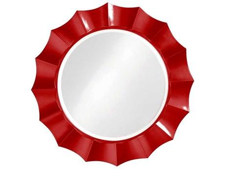 Howard Elliott Corona Red Round Wall Mirror