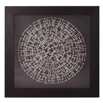 Howard Elliott Abstract Silver Nail 32 Round Black Wall Panel