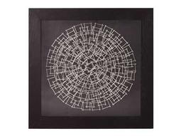 Howard Elliott Abstract Silver Nail 32 Round Black Wall Panel
