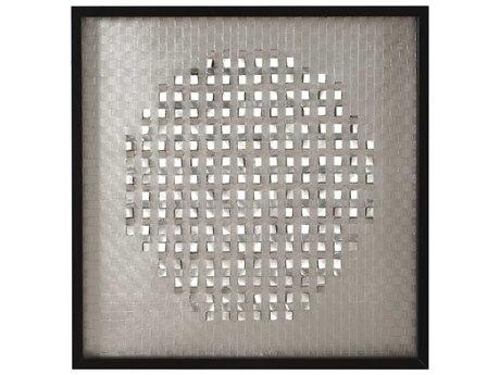 Howard Elliott Industrial Silver Fabric Wall Art In Black Wood Frame
