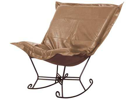 Howard Elliott Avanti Bronze Scroll Puff Rocker Chair - Mahogany Frame