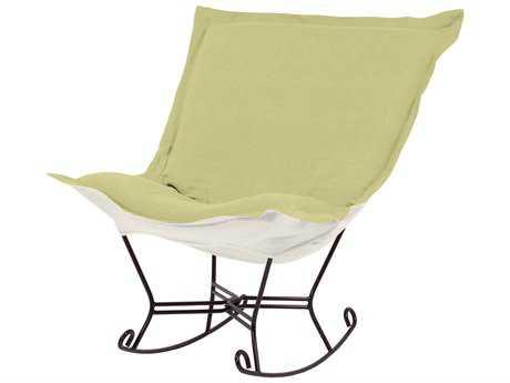 Howard Elliott Sterling Willow Scroll Puff Rocker Chair - Mahogany Frame