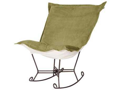 Howard Elliott Bella Moss Puff Scroll Rocker Chair - Mahogany Frame