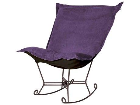 Howard Elliott Bella Eggplant Puff Scroll Rocker Chair - Mahogany Frame