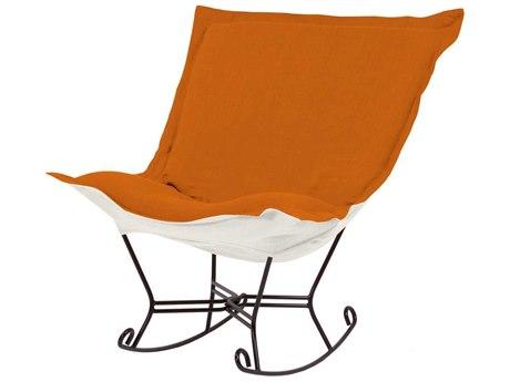 Howard Elliott Sterling Canyon Mahogany Frame Scroll Puff Rocker Chair