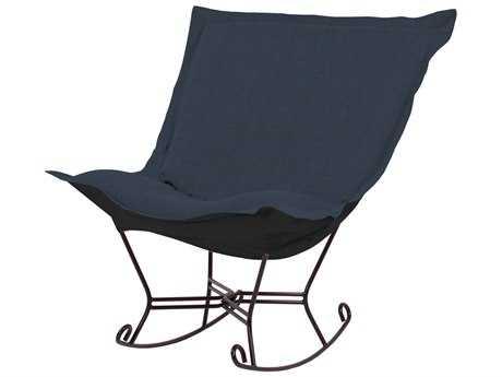 Howard Elliott Sterling Indigo Scroll Puff Rocker Chair - Mahogany Frame