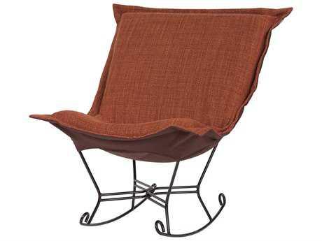 Howard Elliott Coco Coral Scroll Puff Rocker Chair - Mahogany Frame