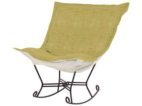 Howard Elliott Coco Peridot Scroll Puff Rocker Chair - Mahogany Frame