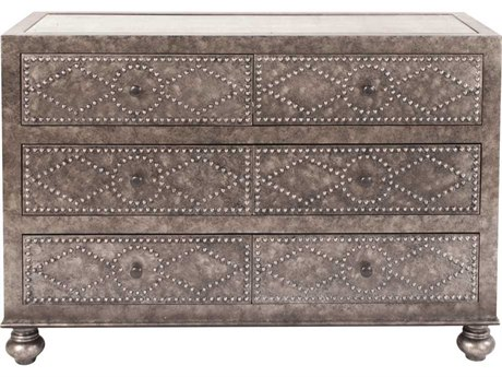 Howard Elliott Mottled Gray Antique Mirror Studded Dresser
