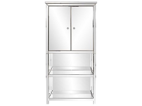 Howard Elliot 32'' W x 13'' D Mirrored Armoire with Cabinet