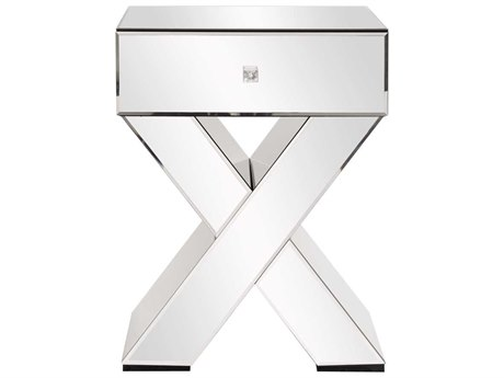 Howard Elliott Mirrored ''X'' Shaped 17.75 x 19.75 End Table