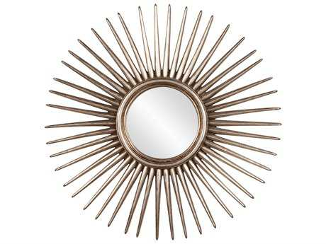 Howard Elliott Cascade 32 Round Silver Leaf Starburst Wall Mirror