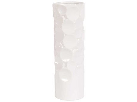 Howard Elliott Glossy White Hammered Ceramic 5 x 5 Gray Vase
