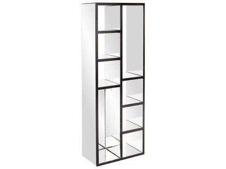 Howard Elliott Clear Mirror With Black Trim Shelf Tower