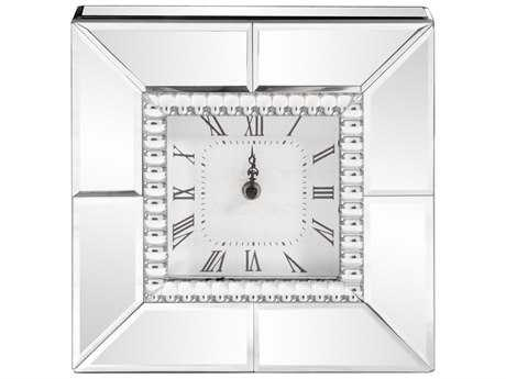 Howard Elliott Mirrored Table Clock with Beaded Glass Trim