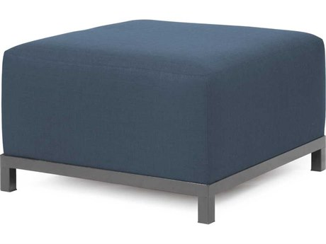 Howard Elliott Axis Sterling Indigo Ottoman - Titanium Frame