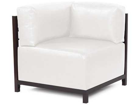 Howard Elliott Axis Avanti White Corner Chair - Mahogany Frame