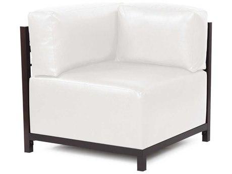 Howard Elliott Axis Avanti White Corner Chair - Mahogany Frame