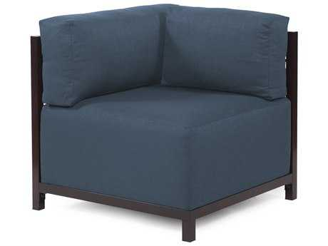 Howard Elliott Axis Sterling Indigo Corner Chair - Mahogany Frame