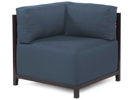 Howard Elliott Axis Sterling Indigo Corner Chair - Mahogany Frame