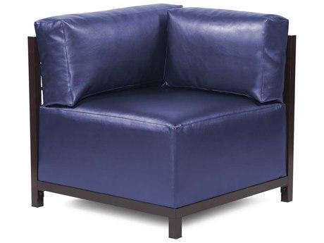 Howard Elliott Axis Shimmer Sapphire Corner Chair - Mahogany Frame