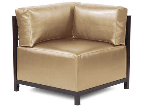 Howard Elliott Axis Shimmer Gold Corner Chair - Mahogany Frame