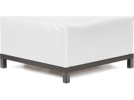 Howard Elliott Axis Atlantis White Ottoman - Titanium Frame