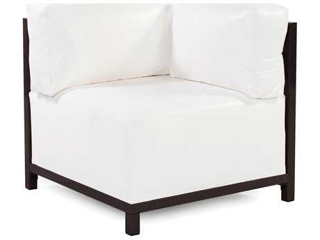 Howard Elliott Axis Atlantis White Corner Chair - Mahogany Frame