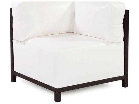 Howard Elliott Axis Atlantis White Corner Chair - Mahogany Frame