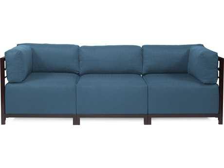 Howard Elliott Seascape Mahogany Turquoise Axis Three-Piece Sectional Sofa